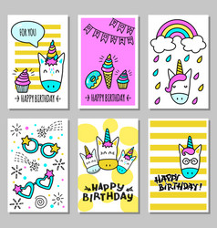 A set of cards with a happy birthday with funny vector