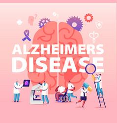Alzheimer disease concept tiny doctors walking vector
