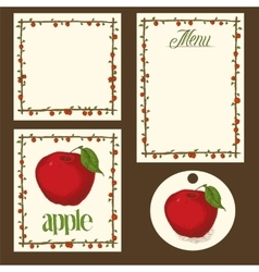 Apple Menu Pages Card and Tag Design Set vector image