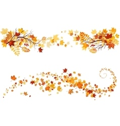 Autumn leaves border vector