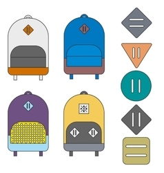 Backpacks and lash tabs vector