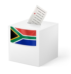Ballot box with voting paper South Africa vector