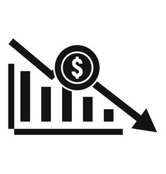 bankrupt chart icon simple style vector image