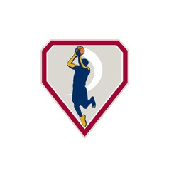 Basketball Player Jump Shot Ball Shield Retro vector image