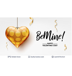 be mine love text and golden heart on white vector image
