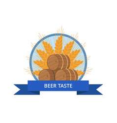 beer taste logo design with wooden barrels vector image