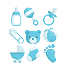 Blue baby shower icons vector