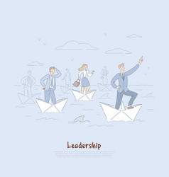 Brave businessman and employees sailing on paper vector