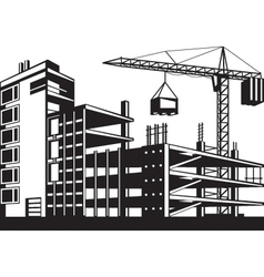 Building in various stages construction vector