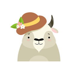 bull in a hat with flowers cute cartoon animal vector image