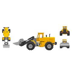Bulldozer 3d different viewes vector