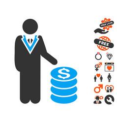 Businessman icon with lovely bonus vector