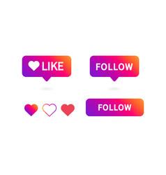 button follow like icon vector image