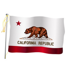 California state waving flag and flagpole vector