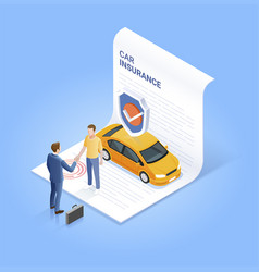 car insurance services businessman shaking hand vector image