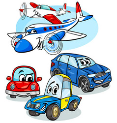 cars and planes group cartoon vector image