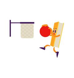 Cartoon book character basketball slam dunk vector