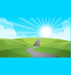 cartoon landscape - road vector image