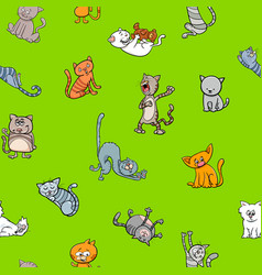 cartoon wallpaper design with cats vector image