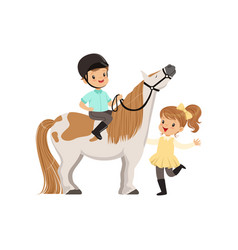 Cheerful little boy jockey sitting on pony horse vector