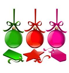 Christmas balls with tags vector image