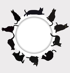 circular frame with black cats vector image