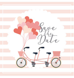classic tandem bicycle balloons wedding save the vector image