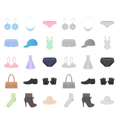 clothes and accessories cartoonmono icons in set vector image