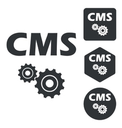 CMS settings icon set monochrome vector
