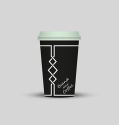 Coffee in plastic cup with words brand new coffee vector