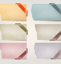 Collection of old paper banners with ribbons vector
