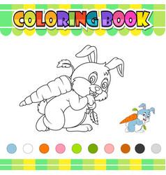 Coloring book rabbit carrying big carrot vector