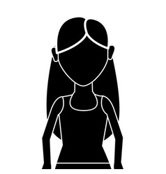 Contour beautiful woman with blouse and hands up vector