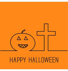 Contour pumpkin and cross Happy Halloween vector image