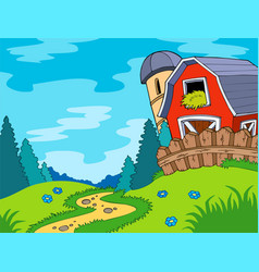 Country landscape with barn vector