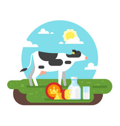 cow graze in a field and dairy products vector image