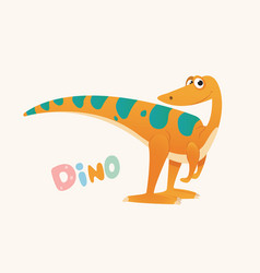 cute orange and green cartoon baby dino bright vector image