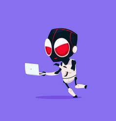 Cute robot wear hacker mask use laptop isolated vector