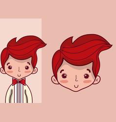 Cute wedding boyfriend cartoon vector