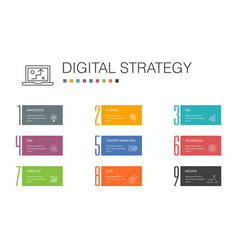 Digital strategy infographic 10 option line vector