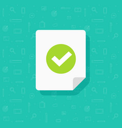 Document and checkmark icon flat cartoon vector