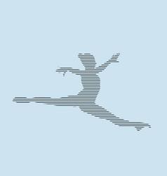 Female gymnast split in jump silhouette vector