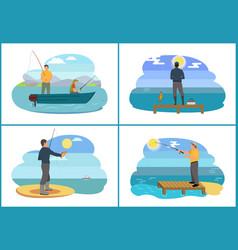 Fishing on lake in boat set vector
