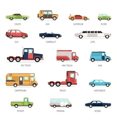 Flat Collection Of Different Car Models vector