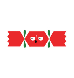 Flat color retro cartoon christmas cracker vector