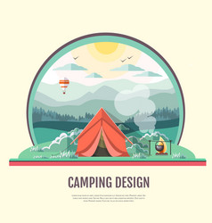 Flat design of retro landscape and camping vector
