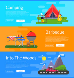 flat style camping elements banners vector image