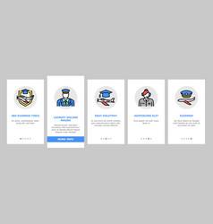 Flight school educate onboarding icons set vector
