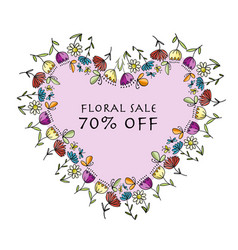 floral heart shape banner for your design vector image