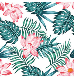 Floral seamless pattern white background vector